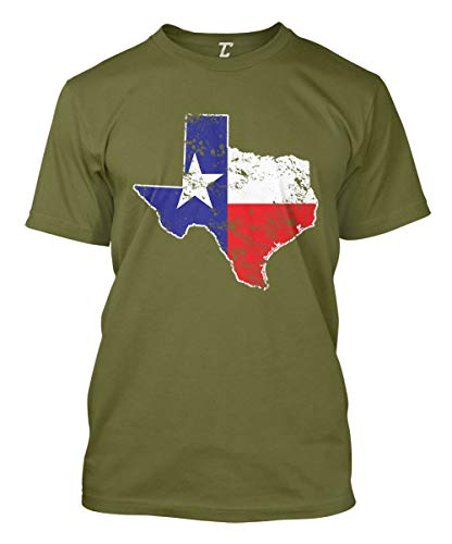 (Texas State Flag Map - USA Men's T-Shirt (Olive, Large))