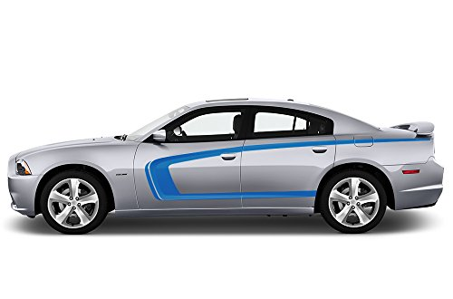 - Factory Crafts C-Stripe Side Graphics Kit 3M Vinyl Decal Wrap Compatible with Dodge Charger 2011-2014 - Azure Blue