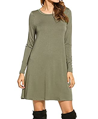 Bluetime Women's Winter Fall Basic Long Sleeve Casual Loose Dress