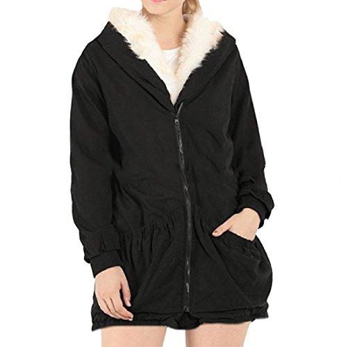 Howme Women's Short Hood Wrap Plus Velvet Fur Collar Warm Quilted Jacket Black