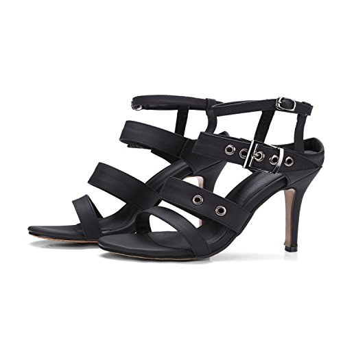 QIN&X Damen Sandalen Stiletto Heels Peep Toe Partei Riemchen Schuhe Black