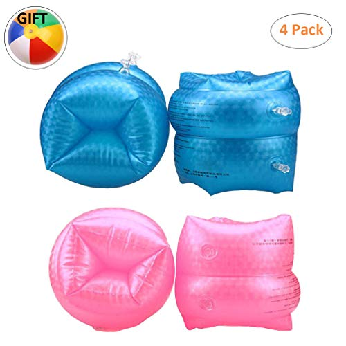 (PVC Arm Floaties Inflatable Swim Arm Bands Floater Sleeves Swimming Arm Rings Water Wings for Kids Toddlers Adults (Blue&Pink))