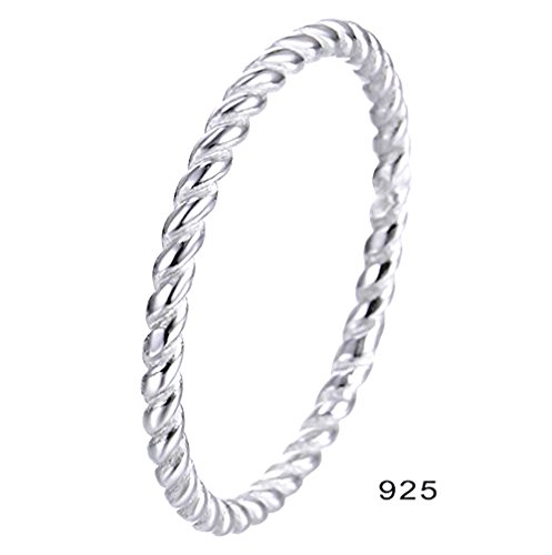 BORUO 925 Sterling Silver Ring High Polish Eternity Rope Tarnish Resistant Comfort Fit Wedding Band 2mm Ring Size 7