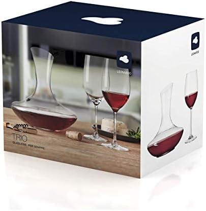 polar-effekt Leonardo - Juego de 3 copas de vino y decantador de vino personalizables con grabado, idea de regalo de cumpleaños, Navidad, diseño de 3 estrellas
