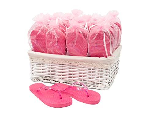 Modo Wedding Party Pink Flip Flops in Wicker