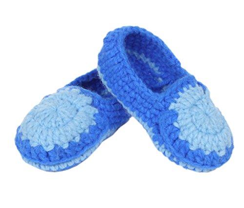 Smile YKK 1 Paar Baby Strick Schuh Strickschuh süße Stil 11cm One Size Sonneblum Blau