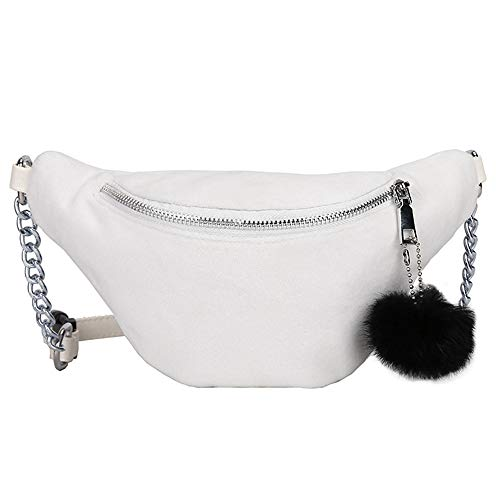 Bag Hairball Women Bag Sling Bag Messenger Crossbody Chest Waist Solid Color Hobos Fashion White Brown qFYz4xUU