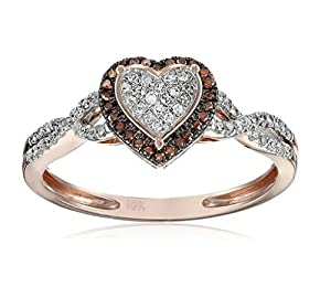 Heart Ring 1/5cttw Diamond Rose Gold Cognac and White Anniversary Gift Ring (1/5cttw, I2/i3 Clarity)