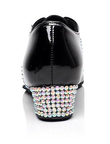 Salsa Talon de Black de danse Chaussures Baskets Personnalisables Noir Latine Cuir Jazz ShangYi Verni Moderne Bas Danse Cuir FH1qw4n