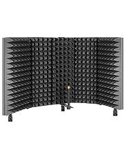 TRUE NORTH Escudo de aislamiento de micrófono con pies de escritorio y soporte – aislamiento de cabina vocal portátil, escudo de micrófono, cabina de grabación portátil, escudo de micrófono de espuma, cabina de sonido portátil para grabación