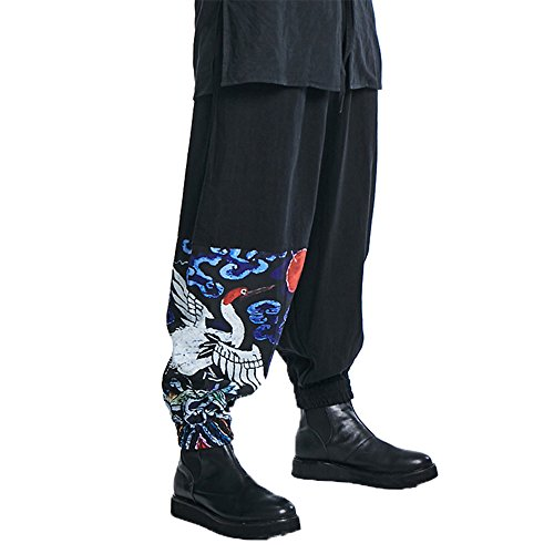 G-LIKE Palazzo Parachute Harem Pants - Chinese Cargo Boho Hippie Yoga Trousers Clothing For Women Men - Cotton (M, Black Crane) (Baby Surprise Christmas Adopted)