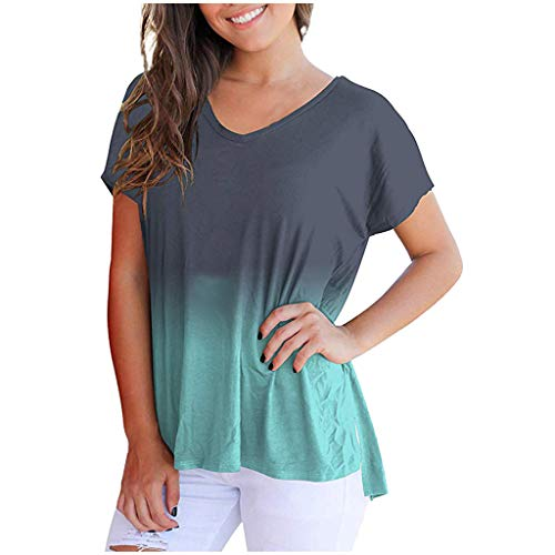 TANGSen Womens V-Neck Tops Fashion Ladies Short Sleeve Casual Gradient Color Summer Loose Plus Size Blouse Tops Blue