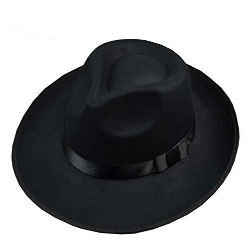 Cos Michael Jackson Hat Stage Show Cap Fedoras Concert Dance Fedoras Classic Solid Black Wide Brim Jazz Hat]()
