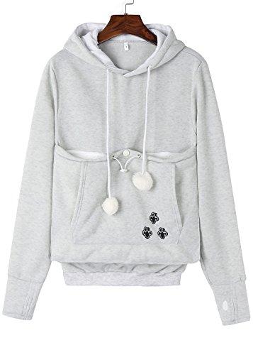 Anbech Unisex Big Kangaroo Pouch Loose Fleece Hoodie Long Sleeve Pullover Little Pet Cat Dog Holder Carrier Sweatshirts (Gray-Fleece, 3XL)