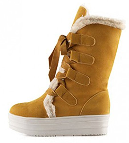 Sfnld Womens Warm Fur Lined Winter Shoes Snow Boots Yellow MREJPw0