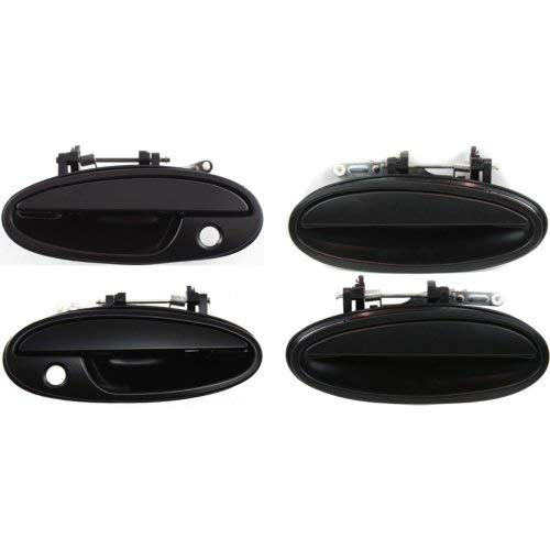 Buick 4 Door - Exterior Door Handle Compatible with BUICK PARK AVENUE 1997-2005 Front and Rear Door Handle Right Side and Left Side Set of 4 Outside Smooth Black Plastic