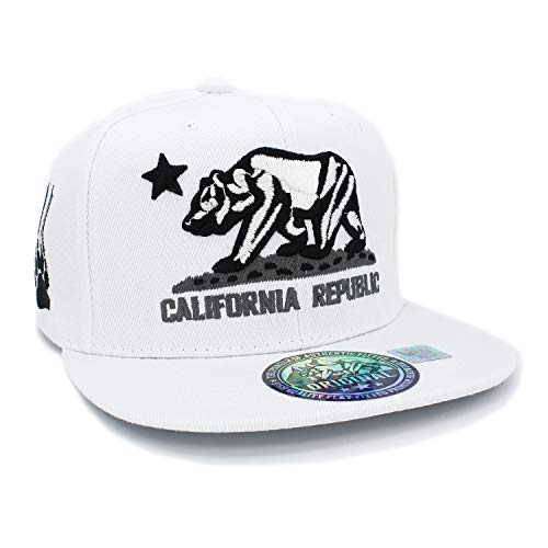 Embroidered California Republic with Bear Claw Scratch Snapback Cap (White/Black/White)