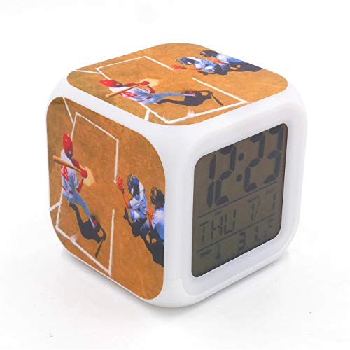 EGS New Baseball Sports Brown Digital Alarm Clock Desk Table Led Alarm Clock Creative Personalized Multifunctional Battery Alarm Clock Special Toy Gift for Unisex Kids Adults Chicago Cubs Alarm Clock
