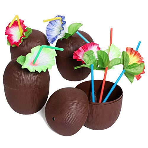 Juvale 12-Pack 16 Ounce Plastic Coconut Cups with Straws, Hawaiian Tropical Luau Party Supplies -