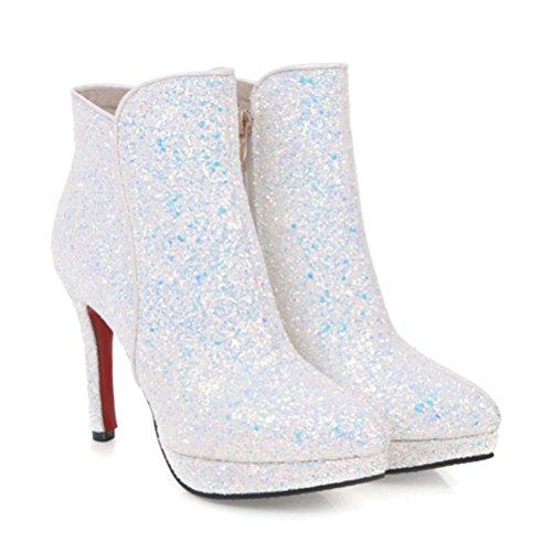 Agodor Women's High Heels Wedding Glitter Ankle Boots With Zip Platform Closed Toe Autumn Winter Pumps White hhVh5Qr