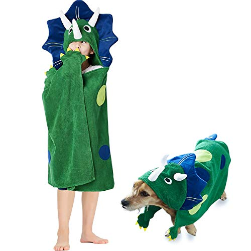 Dinosaur Hooded Beach Towel - Toddler/Kids Bath Towels with Hood - Soft, Fast Drying & Comforting for Boys, Large 47 x 27 | Great Present for Children Age 4-14