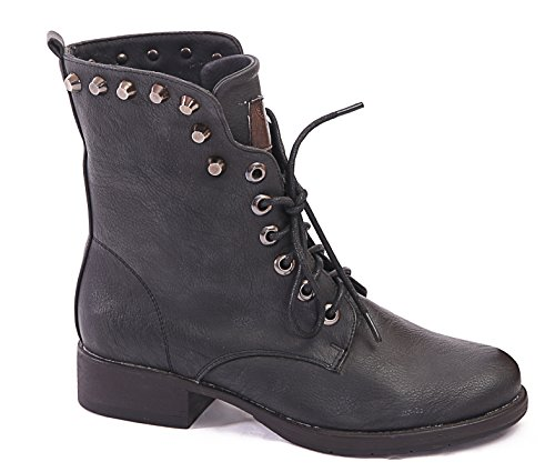 SIZE BLOCK GOTH HEEL PUNK NEW UP M1150 4 BOOTS WOMENS 8 LADIES BIKER 7 5 LACE ANKLE COMBAT 3 Black 6 YdqptwOt
