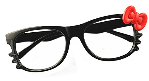 FancyG Cute Nerd Glass Frame with Bow Tie Cat Eyes Whiskers Eyewear for Kids 3-12 NO LENS - Black with Red -