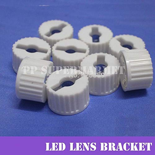 Jammas 50pcs 20mm 90/120 Degrees LED Lens with White Holder for 1W 3W 5W High Power LED Lamp Light - (Wattage: 120degree)