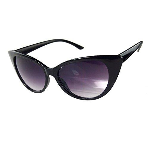 M-Egal Classic Retro Fashion Punk Shades Cat Eyes Sunglasses Eyewear Black+Grey Eyes - Sunglasses Ancient