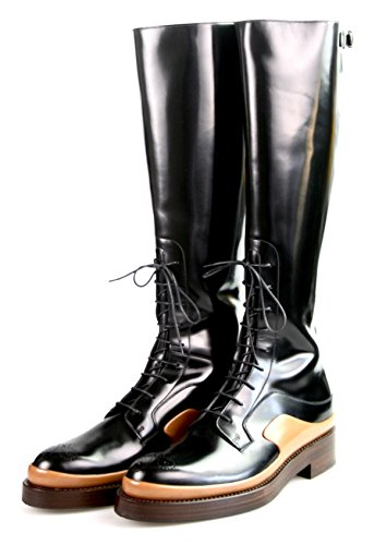 (Prada Women's 1W054G 055 F0632 Black Brushed Spazzolato Leather Boots EU 39.5 / US 9.5)