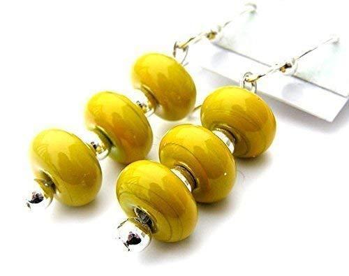 Mustard Yellow Beaded Earrings, Silver Dangle Earrings, Sterling Silver Ear Wire, Girl's Fashion, Women's Earrings, Novelty Earrings, Glass Beaded, Lampwork Earrings ()