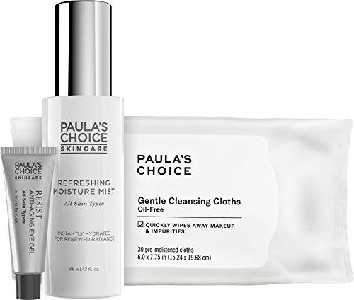 Paula's Choice Ready. Set. Refresh. Travel Essential Trio, Includes RESIST Anti-Aging Eye Gel, Refreshing Moisture Mist Facial Spray & Gentle Facial Spray & Gentle Cleansing Cloths, For All Skin Types (Simple Refreshing Facial Wash Gel Paulas Choice)