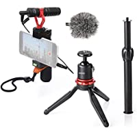 Movo Smartphone Video Rig with Extendable Mini Tripod, Shotgun Microphone, Grip Handle, Wrist Strap for iPhone 5, 5C, 5S, 6, 6S, 7, 8, X (Regular and Plus), Samsung Galaxy, Note and More
