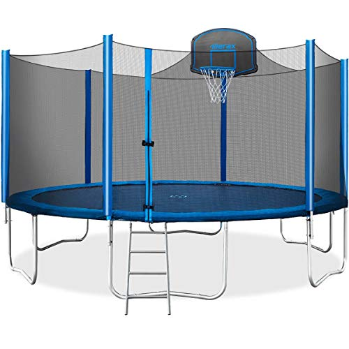 Merax 15 FT Trampoline with Safety Enclosure Net, Basketball Hoop and Ladder - 2019 Upgraded – Kids Basketball Trampoline - Basket Kids Nets Ball