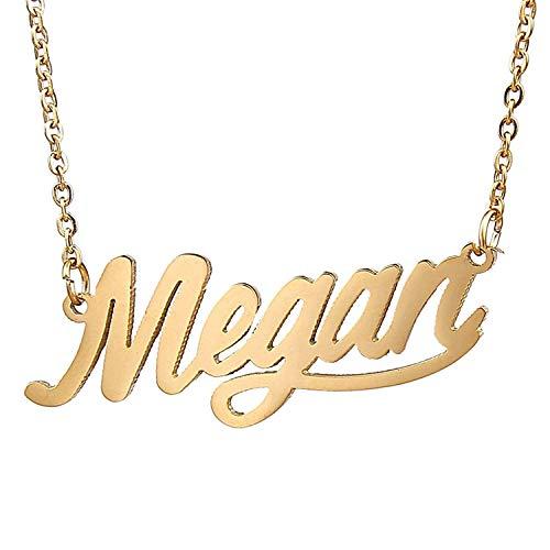 HUAN XUN Gold Color Plated Dainty Name Necklace, Megan from HUAN XUN