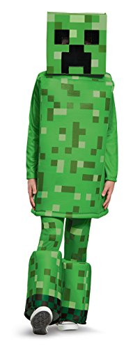 Creeper Prestige Minecraft Costume, Green, Medium (7-8) - Minecraft Creeper Costume