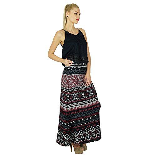 Schlitz Mit Boho Indische Style-maxi Bimba Rock Schwarz Kleidung Frauen-schwarz-rayon Printed