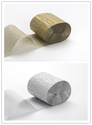 Gold Silver Creative DIY Crepe Paper Decoration for Various Cosplay Party, Wedding, Graduation Party, Special Occasion Decorations (10 Rolls) ()