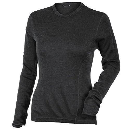 MERIWOOL Women's Merino Wool Midweight Baselayer Crew - Charcoal Gray/Medium (Midweight Underwear Top)