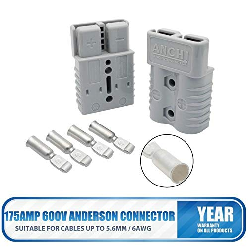 Maso 2X 175AMP 600V Anderson Connector Plug Cable Terminal Battery Power Connector Grey: