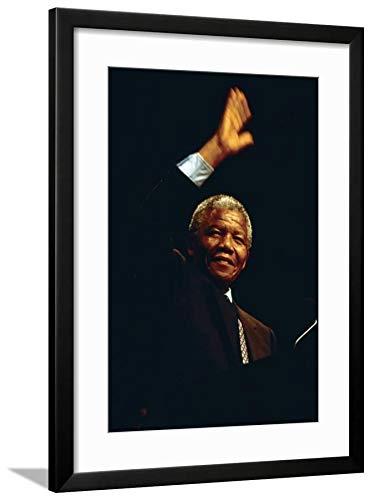 Mandela Nelson Photo (ArtEdge Nelson Mandela, 1990 Black Wall Art Framed Print, 24x16, Soft White Mat)