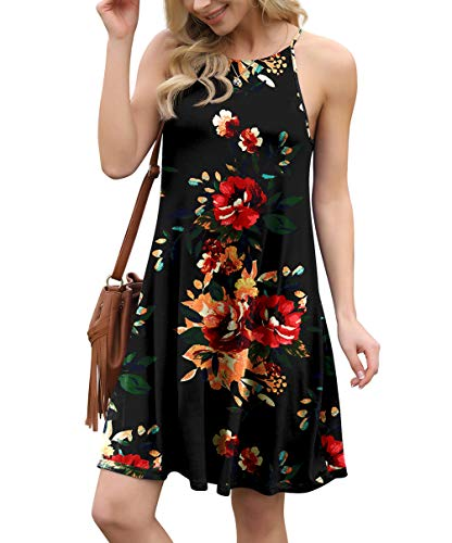 Feiersi Women's Summer Sleepwear Pajama Dress Sleeveless Shift Dress Mini Dress
