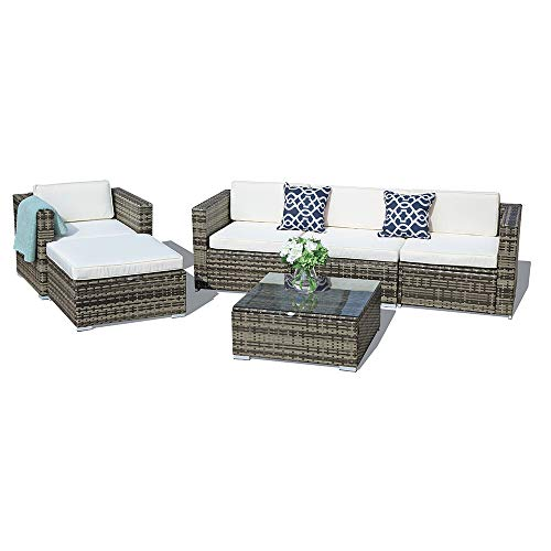 (6-Piece Set Outdoor Furniture Sectional Sofa & Chair All-Weather Wicker with Seat Cushions & Coffee Table with Glass Top & Throw Pillow | Patio, Backyard, Pool)