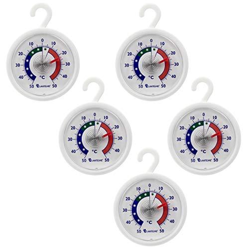 🥇 Conjunto termómetro 5 pcs. Nevera – congelador – termómetro redondo con gancho para colgar