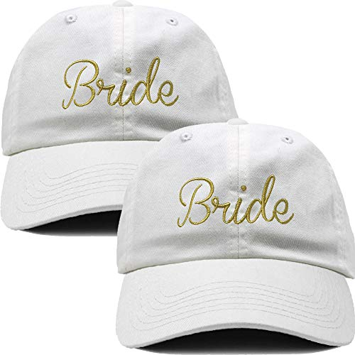 H-214-2-Bride-0902 Dad Hat Baseball Cap Same-Sex Marriage Bundle (White/Gold)