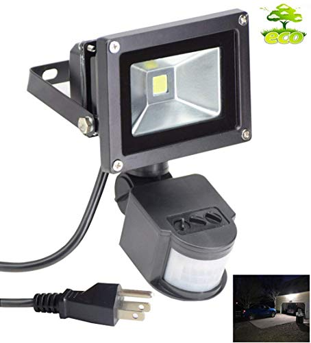 Led Motion Sensor Flood Light Outdoor 10W 800LM Pir Sensitive Security Lights Wall Fixture Lamps Waterproof Floodlight for Garage Yard Patio Pathway Porch Entryways-Daylight White with US 3-Plug
