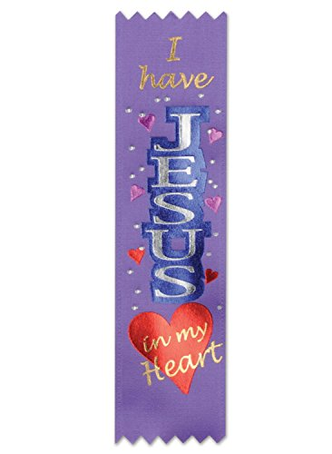 """Pack of 30 Purple Religious Sunday School """"Jesus in My Heart"""" Award Ribbons 6.25"""""""