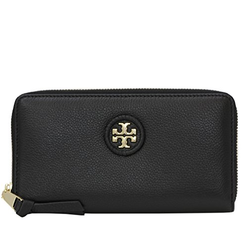 Tory Burch Wallet Zip Around Wallet Whipstitch TB Logo Leather (Black) by Tory Burch