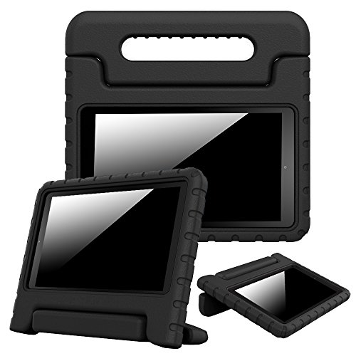 Fintie Shock Proof Case for Amazon Fire HD 8 (Previous Generation - 6th) 2016 Release - Kiddie Series Light Weight Convertible Handle Stand Kids Friendly Cover, Black