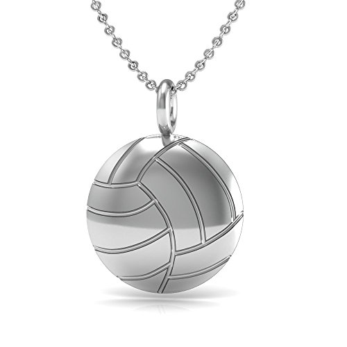 The Best Volleyball Pendant Necklace, 925 Sterling Silver 18 inch necklace with a Volleyball Ball Shaped Pendant - Sterling Silver Volleyball